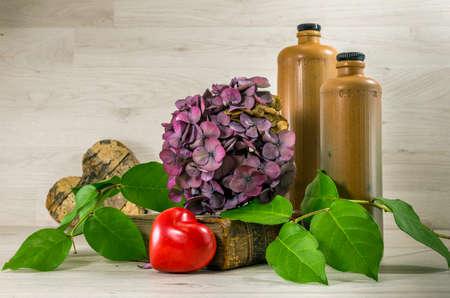 dryed: stil life  with stone bottles on wooden background Stock Photo