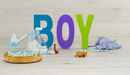 its a boy: its a boy text and sweets in heart shape