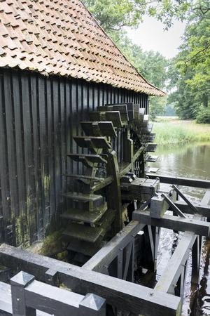 molino de agua: Antiguo molino de agua con el puente en la zona natural holand�s Twente cerca del lugar Delden Foto de archivo