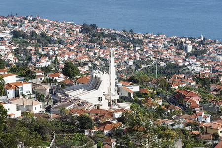 skyline Funchal Madeira with Sao Martinho church and the hilltops overlooking the southern coast of Madeira