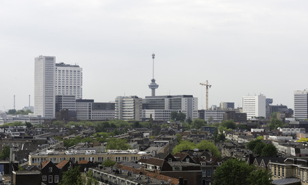 euromast: skyline of rotterdam city in Holland with the euromast and other architecture Editorial