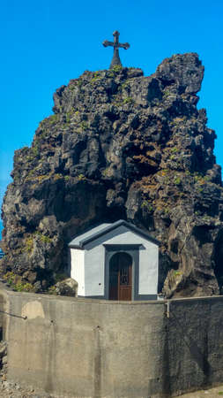 chapel and big rock in Sao vincente on madeira island