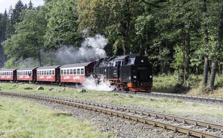 narrow gauge railroads: WERNINGERODE, HARZ, GERMANY, SEPTEMBER 23,2016: Narrow gauge steam train from brocken in Harz to Werningerode on september 23 2016,The trains to the Brocken mountain operate around the year for tourists. Editorial
