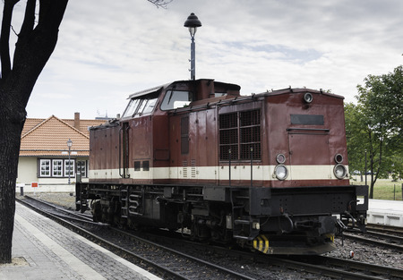 old red steam locomotive still in use in Germany from Wernigerode to the hill called brocken