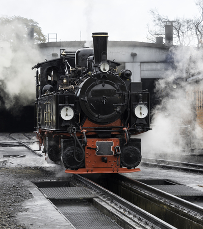 brocken: old black steam locomotive still in use in Germany from Wernigerode to the hill called brocken