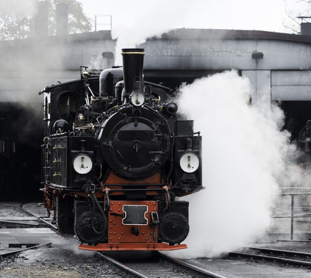 narrow gauge railroad: old black steam locomotive still in use in Germany from Wernigerode to the hill called brocken