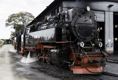 brocken: old black steram locomotive still in use in Germany from Wernigerode to the hill called brocken