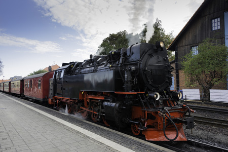 old black steam locomotive still in use in Germany from Wernigerode to the hill called brocken