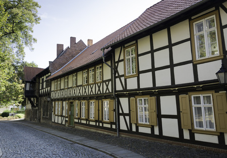 timbered: very old half timbered typical german houses in wernigerode Stock Photo