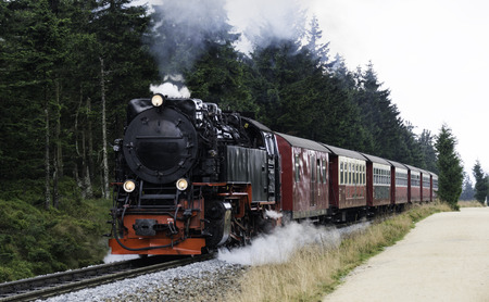 Narrow gauge steam engine from Brocken to Werningerode. The trains to the Brocken mountain are popular with tourists and operate around the year. Editorial