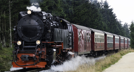 loc: Narrow gauge steam engine from Brocken to Werningerode. The trains to the Brocken mountain are popular with tourists and operate around the year. Editorial
