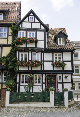 half timbered: half timbered house in quedlinburg germany