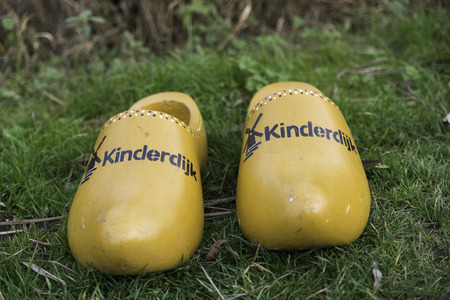 klompen: dutch wooden shoes from the Unesco area kinderdijk in Holland