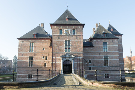 TURNHOUT-BELGIUM-DECEMBER 30, 2016. Castle of the Dukes of Brabant (12th century). In the 18th and 19th century it fell into disrepair and has restored by the county (20th century). Now, it is a courthouse Sajtókép