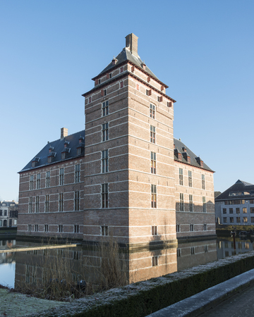 TURNHOUT-BELGIUM-DECEMBER 30, 2016. Castle of the Dukes of Brabant (12th century). In the 18th and 19th century it fell into disrepair and has restored by the county (20th century). Now, it is a courthouse