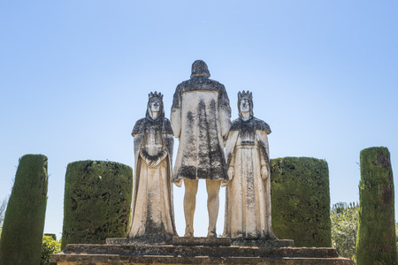 Old Stone Statues of the Christian Kings with Cristobal Colon in the gardens of the Alcazar in Cordoba Spain