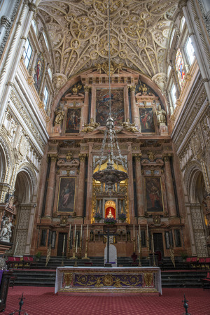 CORDOBA,ANDALUSIA,SPAIN: 04-04-2017: the cathedral insite the mezquita in cordoba on 04 april 2017: the mezquita is the biggest mosk in the world with a christian cathedral build insite