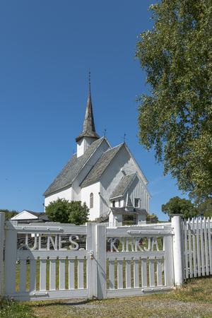 유럽 노르웨이 중앙 노르웨이에서 lakeshore 함께 Ulnes Kyrkje 교회