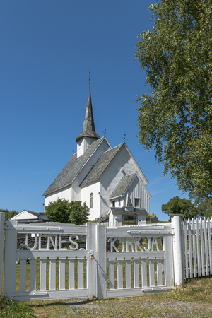 Europe Norway Ulnes Kyrkje church along lakeshore in central Norway