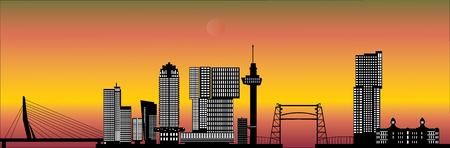 Rotterdam skyline netherlands sunset