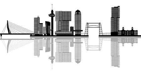 Rotterdamse skyline reflectie Stockfoto