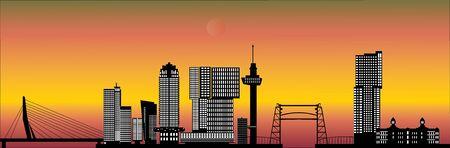 Zonsondergang van de skyline van Rotterdam