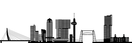 ロッテルダムの街のスカイライン。  イラスト・ベクター素材