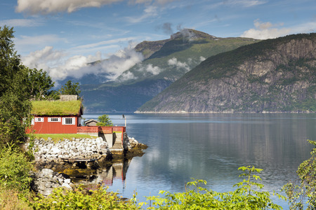 house wth vegetation plants and flowers on the roof at the eidfjord in norway Reklamní fotografie