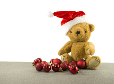 teddy bear with red chritmas balls