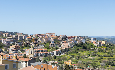 skyline of orgosolo city on sardinia island 스톡 콘텐츠