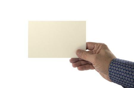 Hand holding blank plain card