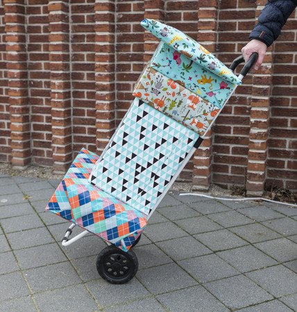 woman with a handtruck full of presents Stockfoto