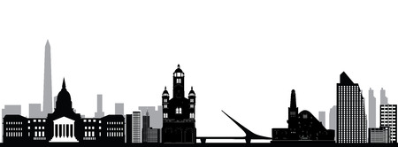 buenos aires city skyline drawing with bridge and church Imagens - 124723594