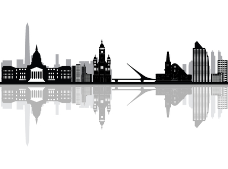 buenos aires city skyline Illustration