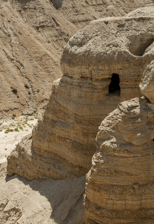 Qumran Cave with the dead sea Stock Photo