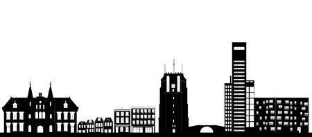 the city skyline of leeuwarden with landmarks like the church and the blokhuispoort and the campus