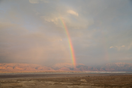 rainbow over the dead sea with jordan as background, view from masada Stok Fotoğraf - 121714601