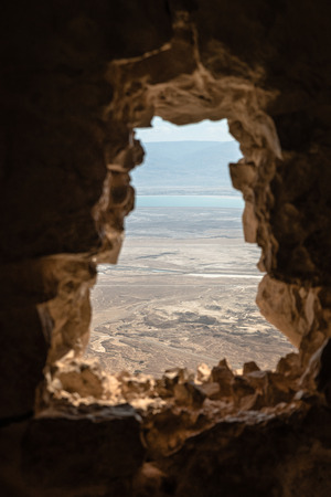 view from masada to the dead sea in israel and jordan across the sea