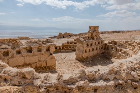 Ruines de l'ancienne forteresse de Massada en Israël, construites par Hérode le grand Banque d'images