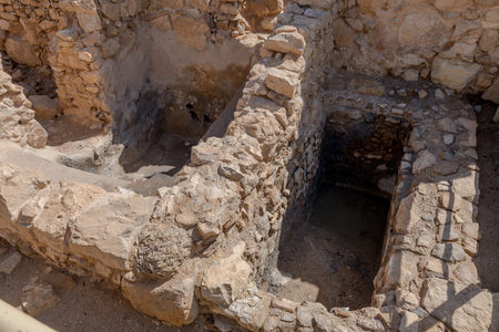 Ruins of the rjewish ritual bath in ancient Masada fortress in Israel,build by Herod the great