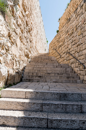 entrance staircase to the old city of jerusalem at the zion or sion gate
