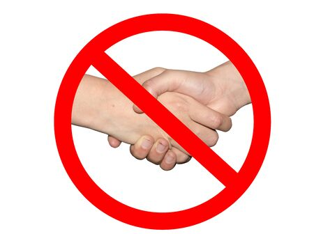 No shaking hands or handshake prohibition sign - hygiene and social distancing measure to avoid corona virus infection during pandemic Archivio Fotografico