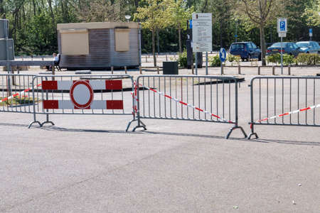 Rockanje,Holland,26-april-2020:Parking to the beach closed due to the covid19 or corna virus, this parking is normally full of cars from people laying on the beach