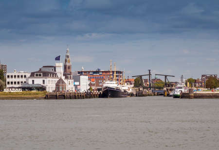 Maassluis,Holland,19-aug-2020: Town of Maassluis seen from the Nieuwe Waterweg with the bridge and the church Editorial
