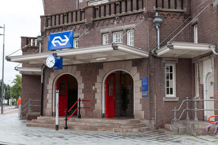 Weert,Holland,03-sept-2020:the entrance to the building of the train station in weert, it is build by George Willem van Heukelom in 1879 Editorial