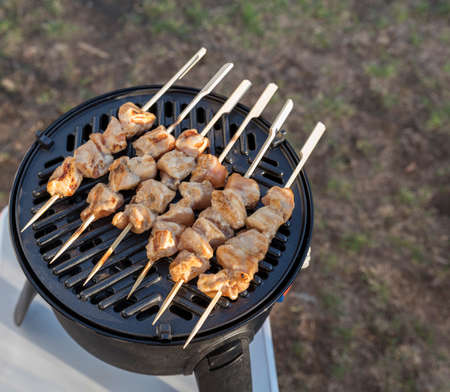 outdoor camping gas bbq with grill plate for a nice chicken sate Banco de Imagens