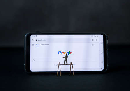 man on ladder looking for something on the google search bar onm internet