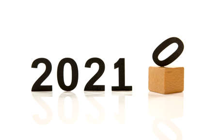 changing the old year 2020 by the new year 2021 numbers Banco de Imagens