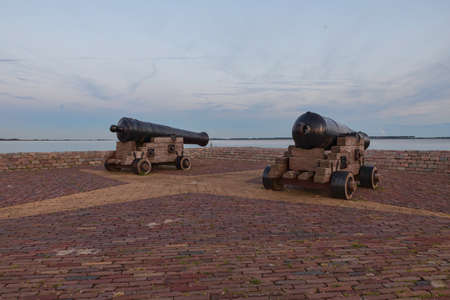 cannons at the harbor in holland