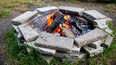 camp fire made of stones